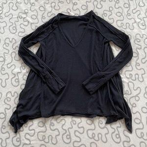 Free People Black Waffle Knit Long Sleeve Top